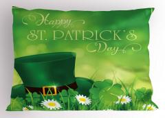 Yeşil Şapka ve Papatya Yastık Kılıfı Aziz Patrik Günü