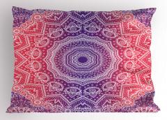 Çiçekli Geometrik Şal Yastık Kılıfı Dekoratif