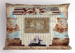 Dekoratif Antik Mısır Desenli Yastık Kılıfı Hiyeroglif