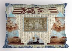 Mavi Çerçeveli Mısır Desenli Yastık Kılıfı Antik