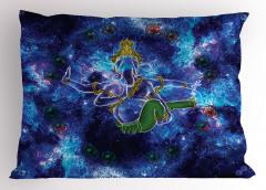 Mavi Mitolojik Fil Desenli Yastık Kılıfı Kozmik