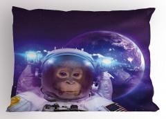 Astronot Maymun ve Dünya Yastık Kılıfı Uzay Çağı
