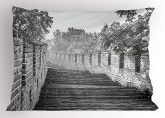 Monokrom Çin Seddi Yastık Kılıfı Dekoratif