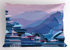 Şık Çin Seddi Desenli Yastık Kılıfı Antik Şehir