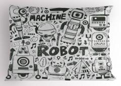 Robot Dünyası Desenli Yastık Kılıfı Siyah Beyaz