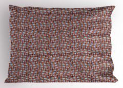Kahverengi ve Dalgalı Kafes Yastık Kılıfı Dekoratif