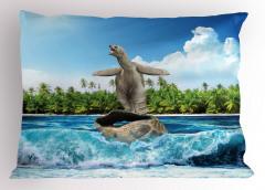 Kabuğunda Sörf Yapan Kaplumbağa Yastık Kılıfı Komik