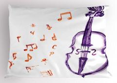 Çello ve Notalar Yastık Kılıfı Müzik