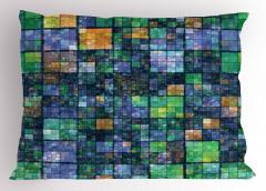 Yeşil Lacivert Mozaik Yastık Kılıfı Geometrik