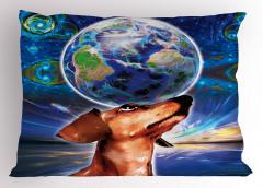 Dünya Köpeğin Başında Yastık Kılıfı Uzay