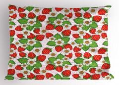 Çilekler ve Çiçekler Yastık Kılıfı Kırmızı Yeşil