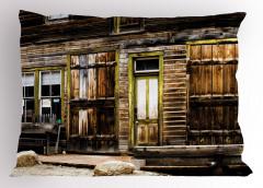 Ahşap Kapılı Eski Ev Yastık Kılıfı Kahverengi
