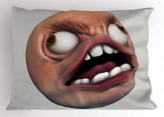 Beyaz Dişli Amorf Yastık Kılıfı 3D Efektli