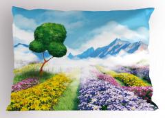 Çiçek Tarlaları ve Ağaç Yastık Kılıfı Dekoratif
