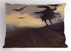 Çölde Uçan Kargalar Yastık Kılıfı Sulu Boya