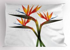 Turuncu Çiçekler Yastık Kılıfı Şık Tasarım Çeyizlik