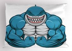 Kaslı Köpek Balığı Yastık Kılıfı Mavi Hayvan