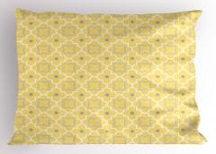 Dekoratif Yonca Desenli Yastık Kılıfı Sarı Şık Tasarım