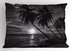 Denizde Gün Batımı Yastık Kılıfı Palmiyeler Siyah
