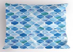 Dekoratif Fas Desenli Yastık Kılıfı Mavi Şık Tasarım