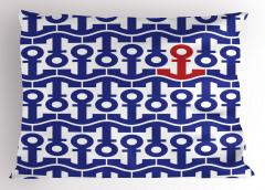 Çapa Desenli Yastık Kılıfı Lacivert Kırmızı Trend