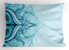 Dantel Desenli Yastık Kılıfı Mavi Etnik Şık Tasarım