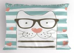 Gözlüklü Şirin Kedi Yastık Kılıfı Çizgili Kalpli