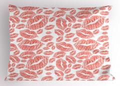 Kırmızı Dudak Desenli Yastık Kılıfı Dekoratif Şık