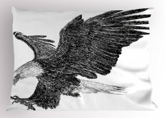Uçan Kartal Desenli Yastık Kılıfı Siyah Beyaz Şık