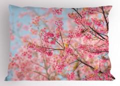 Pembe Kiraz Çiçekleri Yastık Kılıfı Dekoratif Şık