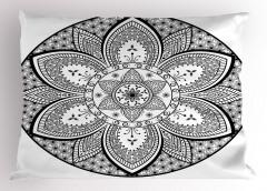 Siyah Beyaz Mandala Yastık Kılıfı Dekoratif