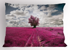 Mor Çiçek Tarlası Yastık Kılıfı Ağaç Gökyüzü Bulut