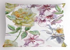 Sulu Boya Çiçekli Desen Yastık Kılıfı Çeyizlik Şık