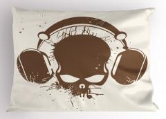 Kulaklıklı Kuru Kafa Yastık Kılıfı Müzik Trend