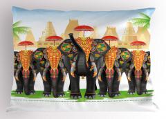 Şemsiyeli Fil Desenli Yastık Kılıfı Hint Etkili Şık