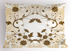 Kahverengi Şık Çiçek Yastık Kılıfı Dekoratif