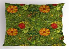 Yeşil Girdap Çiçekleri Yastık Kılıfı Şık Tasarım