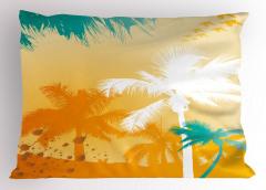 Beyaz Turkuaz Palmiye Yastık Kılıfı Dekoratif