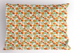 Sarı Turuncu Kır Çiçeği Yastık Kılıfı Dekoratif