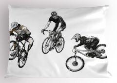 Akrobat Bisikletçiler Yastık Kılıfı Kara Kalem
