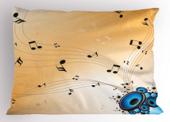 Hoparlörden Çıkan Nota Yastık Kılıfı Dekoratif