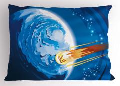 Meteor ve Mavi Dünya Yastık Kılıfı Uzay