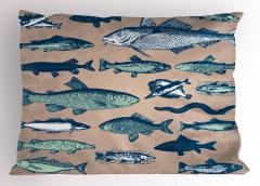 Balık Desenli Yastık Kılıfı Bej Mavi Şık Tasarım Trend
