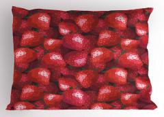 Dekoratif Çilek Desenli Yastık Kılıfı Kırmızı
