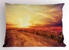 Mor Çiçekli Güneşli Yol Yastık Kılıfı Gün Doğumu