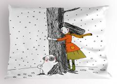 Kız Köpek ve Ağaç Yastık Kılıfı Dekoratif Şık