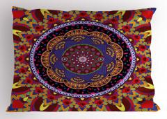 İç İçe Renkli Mandala Yastık Kılıfı Geometrik