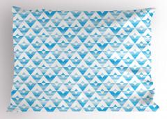 Sulu Boya Üçgen Desenli Yastık Kılıfı Geometrik Şık