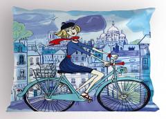 Paris'teki Bisikletli Kız Yastık Kılıfı Dekoratif Mavi