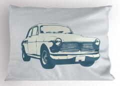 Nostaljik Araba Desenli Yastık Kılıfı Mavi Trend